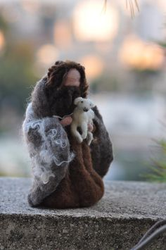 Needle felted-Nativity Set-Nativity-Waldof--Good shepherd--standing doll-needle felt by Daria Lvovsky