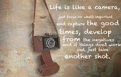 Life Is Like a Camera Quote Photos. Posters, Prints and Wallpapers Life Is Like a Camera Quote Great Quotes, Quotes To Live By, Inspirational Quotes, Motivational Quotations, Quirky Quotes, Awesome Quotes, Daily Quotes, Camera Quotes, Camera Wallpaper