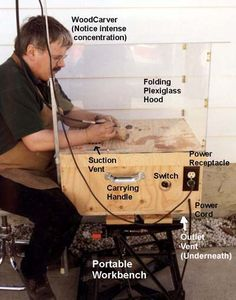 Build it Yourself - An Efficient, Portable Power Carving Station - Wood Projects Wood Carving Designs, Wood Carving Patterns, Woodworking Power Tools, Woodworking Jigs, Woodworking Projects, Dremel Tool Projects, Wood Projects, Dremel Ideas, Power Carving Tools