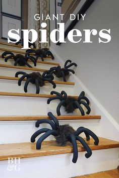 Hot-glue faux fur on floral forms, cover wire legs with foam tubes and bend them into huge outdoor Halloween spiders. It's so easy that your colony may quickly get out of hand. We'll show you how to make this spooky DIY Halloween craft—and how to easily hang these Halloween spiders inside your home or on top of it. #giantdiyspiders #giantspidersonhouse #giantspiderdiy #halloweendecor #bhg Diy Halloween Spider, Halloween Ii, Outdoor Halloween, Halloween Crafts, Halloween Ideas, Spider Decorations, Diy Halloween Decorations, Holiday Decorations, Diy Craft Projects