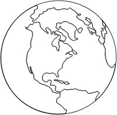 free coloring maps for kids | Free Earth Template or Coloring Page