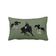 Pretty Hunter/Jumper Horse Trio Pillow