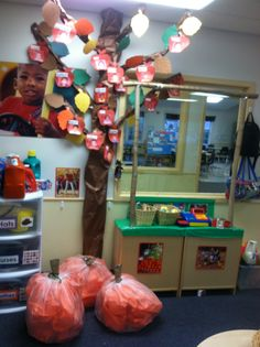 """Can you tell out theme is """"In The Fall?""""  We've turned out dramatic play area…"""