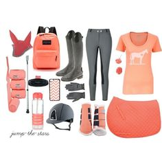 Coral and grey riding lesson oitfit. I love that even the horse apperal matches too! The Effective Pictures We Offer You About Equestrian Fashion fall A quality picture can tell you many things. Equestrian Boots, Equestrian Outfits, Equestrian Style, Equestrian Fashion, Horse Riding Clothes, Riding Gear, Riding Helmets, Horse Fashion, Horse Gear