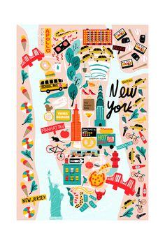 Juliana Vido Illustration — Map of New York I made for Fera Ghost World, New York Illustration, Digital Illustration, Travel Illustration, Medical Illustration, Map Of New York, New York Art, Don Draper, Design Thinking