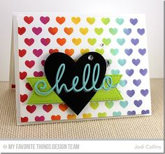 Happy Hellos Die-namics, Blueprints 1 Die-namics, Heart STAX Die-namics, Stitched Fishtail Flag STAX Die-namics, Staggered Hearts Stencil - Jodi Collins #mftstamps