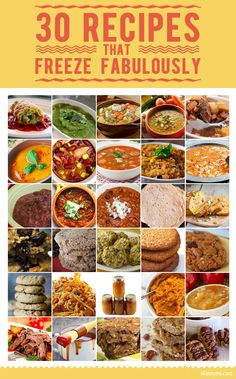 Recipes that Freeze Fabulously 30 Recipes that Freeze Fabulously! These are excellent for menu planning :) 30 Recipes that Freeze Fabulously! These are excellent for menu planning :) Freezable Meals, Make Ahead Freezer Meals, Freezer Cooking, Easy Meals, Frugal Meals, Bulk Cooking, Budget Freezer Meals, Cooking Classes, Slow Cooker Recipes