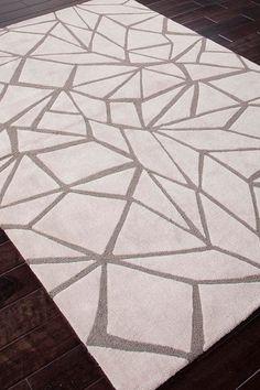 Modern Geometric Pattern Tufted Rug - Ivory/Gray