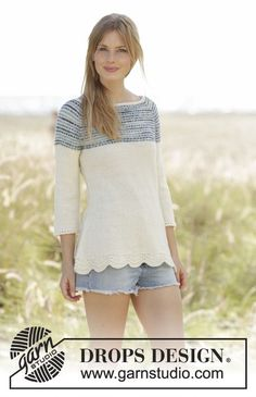 Spring Rain jumper with edge in wave pattern and stripes on yoke by DROPS Design Free Knitting Pattern