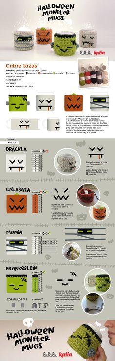 Halloween Monster Cubretazas a Crochet - Patrón Gratis en Español aquí: http://www.katia.com/blog/es/2013/10/22/craft-lovers-%E2%99%A5-13/