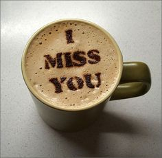 """Say """"I Love You"""" With Delicious Coffee Stencils Coffee Stencils-I Miss you Coffee Latte Art, Coffee Cafe, Coffee Humor, Iced Coffee, Coffee Heart, I Love Coffee, Good Morning Coffee, Coffee Break, Miss You Images"""