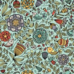 Pattern with birds and flowers by Maria Galybina, via Behance