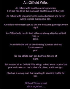 An Oilfield wife....