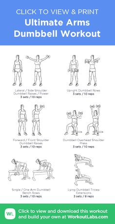 Ultimate Arms Dumbbell Workout – click to view and print this illustrated exercise plan created with #WorkoutLabsFit