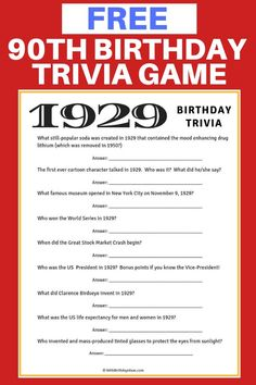 Free quiz game for birthday – Wanderlust 90th Birthday Invitations, 90th Birthday Parties, Birthday Party Games, Birthday Celebration, Birthday Party Decorations For Adults, 90 Birthday Party Ideas, Diy Party, Ideas Party, Grandma Birthday