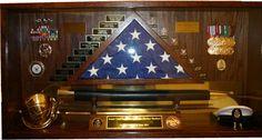 military retirement shadow box w/ saber, flag, ribbons, etc