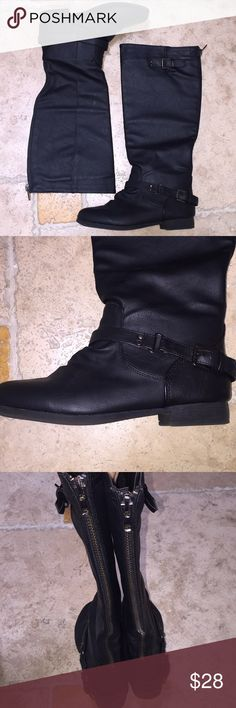 Black Knee High Riding Boots New without tags/box Size 7.5 Full zipper on the back of each boot.  Cross between riding boot and motorcycle boot. Shoes Over the Knee Boots