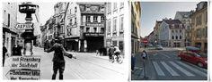 traffico controllato  dalla polizia tedesca a Colmar (Alsazia) 1940 (Rue Kléber vista dal bivio con la Boulevard du Champ de Mars e la rue Stanislas)