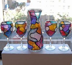 Art: Mo' Rockin' Nights 2 (5 Pc Wine Decanter Set) by Artist Diane G. Casey
