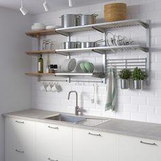 Laminate Countertops, Kitchen Countertops, Kitchen Cabinets, Kitchen Appliances, Ikea Kitchen Shelves, Kitchen Wall Storage, Island Kitchen, Kitchen Backsplash, Concrete Countertops