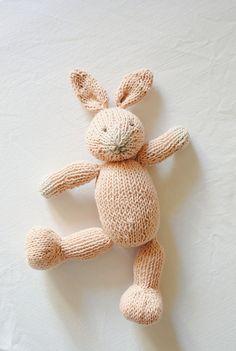Hand Knit Bunny - Knitted toy - Stuffed Animal - Knit Rabbit Animal Stuffed  - Cuddly toy - Plush toy - Childrens Stuffed Animal Doll