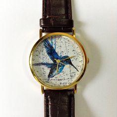 Vintage Bird Watch,  Vintage Style Leather Watch, Vintage Map Print, Women Watches, Mens Watch, Boyfriend Watch, Unisex, Brown