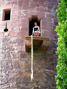 Trendelburg : fairy tale In the medieval castle high on the mountain stands unmistakably the Rapunzel tower. Rapunzel lets down her braid for the prince.