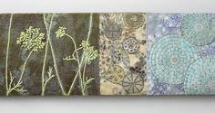 Mixed Media fiber sculpture with embroidery & found objects. Original Fiber Art