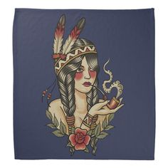 Retro style illustration of a young native American woman smoking a wooden pipe Color: Floral White / Wheat / Antique White. Pin Up Girl Tattoo, Girl Tattoos, Daughter Tattoos, Tatoos, Tattoo Flash Art, Tattoo Art, American Traditional, Traditional Ideas, Women's Bandanas