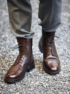 Brown brogue boots http://www.cooganlondon.com/