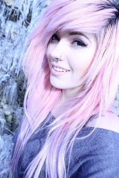 light pink hair looks good on any girl. the easiest way to get this hair is to bleach it and then dye it with cotton candy pink dye Light Pink Hair, Pastel Pink Hair, Purple Hair, Green Hair, Pastel Goth, Leda Muir, Emo Scene Hair, Alternative Hair, Dye My Hair