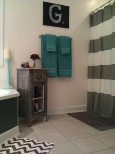 1000 images about bathroom ideas on pinterest primitive for Teal and gray bathroom ideas