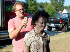 """On the set of The Walking Dead, zombies aren't born from a virus. It takes four bottles of conditioner, ten gallons of """"blood,"""" and an assembly line of makeup artists to create an army. Halloween Cosplay, Halloween Make Up, Halloween Party, Halloween Costumes, Zombie Costumes, Halloween Zombie, Halloween 2018, Makeup Brush Sale, Makeup Kit"""