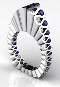 Ring   Erik Stewart. Platinum, diamonds and sapphires