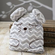Animal toy pillow. Sleeping grey chevron mouse pillow. by KIDZCOZY, $33.00