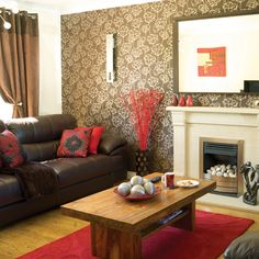 Brown Leather Couch Decorating Living Room Ideas With Furniture