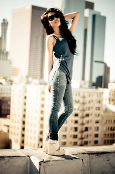 city fashion photoshoot // love the hair & wedges <3