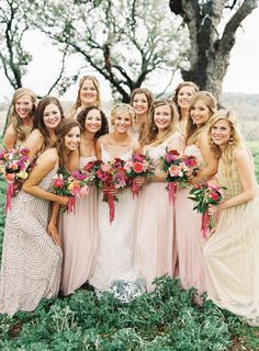 Boho mix and match bridal party: http://www.stylemepretty.com/2015/06/02/colorful-boho-glam-texas-hill-country-wedding/ | Photography: Brett Heidebrecht - http://brettheidebrecht.com/