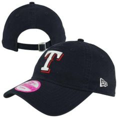 New Era Texas Rangers 9FORTY Ladies Essential Adjustable Hat - Navy Blue by  New Era. 91542d32a
