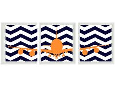 Airplane Nursery Art - Chevron Navy Blue Orange Boy Room Aviation Flying - Baby…