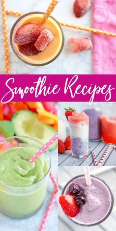 10 Amazing Smoothie Recipes! The Best Smoothie Recipes! Simple and Easy Breakfast Smoothies, Green Smoothies, Healthy Smoothies, Fruit Smoothies, Yogurt Smoothies and more! Simple and refreshing Mango, Avocado, Strawberries, Bananas, Pear, Pineapple, Blueberries, and more! #lemonpeony #fruit #smoothies #yogurt #spinach #avocado #mango #strawberry #blueberry #banana #pineapple Mango Smoothie Recipes, Breakfast Smoothie Recipes, Healthy Green Smoothies, Yogurt Smoothies, Good Smoothies, Margarita Recipes, Beer Recipes, Snack Recipes