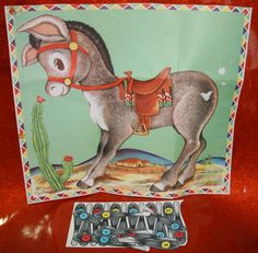 1950s 1954 Whitman Childrens Birthday Party Game Set with Nice Imagery Box Pamphlet Pin the Tail on the donkey and four packs of cards