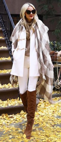 #winter #outfits / White Coat // Plaid Scarf // White Skinny Jeans // Camel OTK Boots