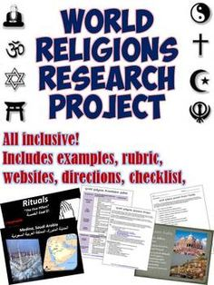 World Religions Research Project - This download contains all of the resources you need for your students to complete amazing research project presentations on the major religions of the world!