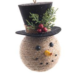 Jute Snowman Head Ornament | Christmas | Woodland  - Cracker Barrel Old Country Store