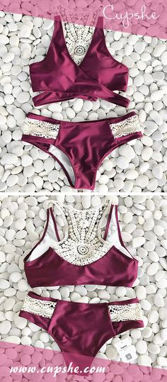 Trending Swimwear 2018 Picture Description Celebrate the season with Cupshe Dazzling Sunshine Crochet Bikini Set. Classic rose color, cross in front, crochet at back together with lace. It makes you look hot and energetic. Don't wait, check it out! Summer Bikinis, Cute Bikinis, Bikini 2018, Summer Outfits, Cute Outfits, Bathing Beauties, Women Swimsuits, Bikini Set, Crochet Bikini