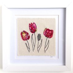 Tulip flowers framed wall art picture gift, machine embroidered stitched fabric applique. Birthday sympathy. Botanical. Embroidery hoop