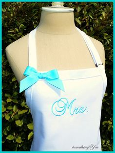 Awe cute. Those simple gifts are the best.  Custom Mrs. Wedding Dress Apron  Brides by SomethingYouAprons, $23.95