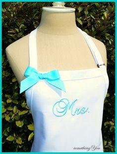 Custom Mrs. Wedding Dress Apron  Brides by SomethingYouAprons, $23.95  *idea for bridesmaids