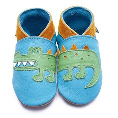 Ordered these for our little man: very cute handmade shoes   Crocodile Turquoise & Green | Inch Blue